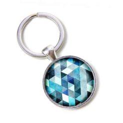 Schlüsselanhänger blau Mosaik Mandala Raute Kaleidoskop