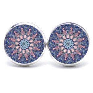 Druckknopf / Ohrstecker / Ohrhänger Muster Mandala Mosaik in blau und rosa