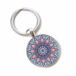 Schlüsselanhänger Mandala Mosaik rosa und hellblau