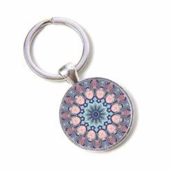 Schlüsselanhänger Mandala Mosaik rosa, blau und türkis
