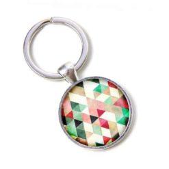 Schlüsselanhänger bunt farbenfroh Mosaik Mandala Raute Kaleidoskop