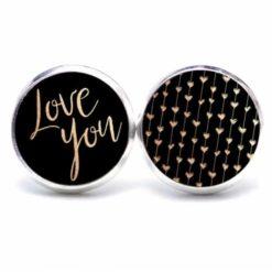 Druckknopf Ohrstecker Ohrhänger Love you Liebe dich Valentinstag mit Herzen