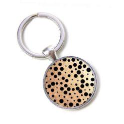Schlüsselanhänger gold mit schwarzen Punkten Tupfen Polkadots