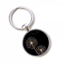 Schlüsselanhänger schwarz mit goldener Pusteblume Löwenzahn