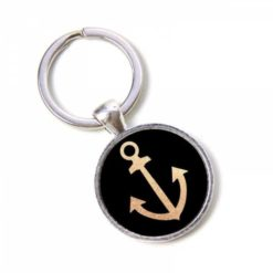 Schlüsselanhänger schwarz mit goldenem Anker - maritim