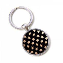Schlüsselanhänger schwarz mit vielen goldenen Sternen Sternenhimmel