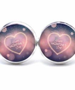 Druckknopf / Ohrstecker / Ohrhänger Happy Valentines Day mit Herz