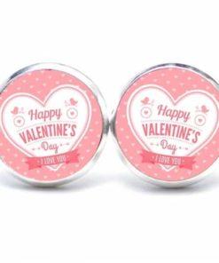 Druckknopf / Ohrstecker / Ohrhänger Happy Valentines Day mit Herz in rosa