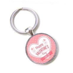 Schlüsselanhänger Happy Valentines Day mit Herz in rosa