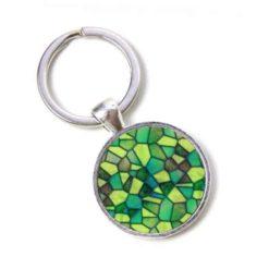 Schlüsselanhänger Mosaik Glasmosaik grün dunkelgrün Puzzle