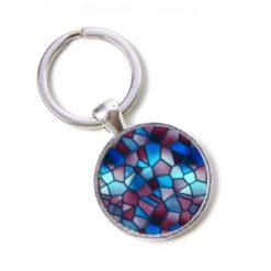 Schlüsselanhänger Mosaik Glasmosaik blau weinrot rot Puzzle