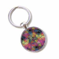 Schlüsselanhänger Mosaik Glasmosaik grau rosa grün Puzzle