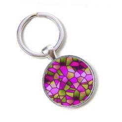 Schlüsselanhänger Mosaik Glasmosaik rosarot violett olive grün Puzzle