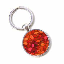 Schlüsselanhänger Mosaik Glasmosaik rot orange Puzzle