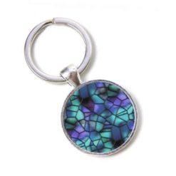 Schlüsselanhänger Mosaik Glasmosaik türkis violett Puzzle