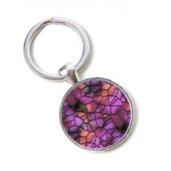 Schlüsselanhänger Mosaik Glasmosaik violett rot Puzzle
