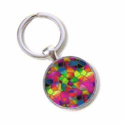 Schlüsselanhänger Mosaik Glasmosaik kunterbunt farbenfroh neonpink neongrün neongelb Puzzle