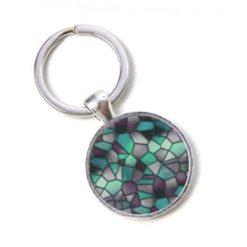 Schlüsselanhänger Mosaik Glasmosaik emerald grün schwarz Puzzle