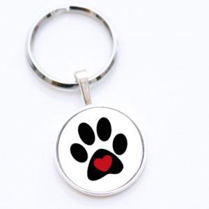 Schlüsselanhänger Hundepfote mit Herz