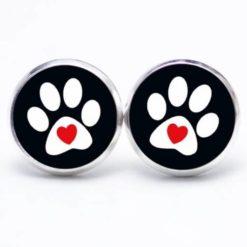 Druckknopf / Ohrstecker / Ohrhänger Hundepfote mit Herz