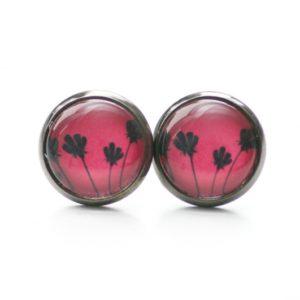 Druckknopf / Ohrstecker / Ohrhänger schwarze Tulpen auf Rot