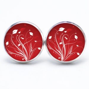 Druckknopf / Ohrstecker / Ohrhänger zarte weiße Blätter auf rot