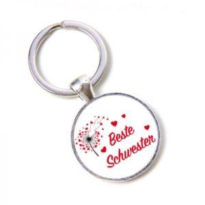 Schlüsselanhänger beste Schwester - Pusteblume, Herzen, Lieblingsmensch