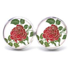 Druckknopf / Ohrstecker / Ohrhänger große rote Rose