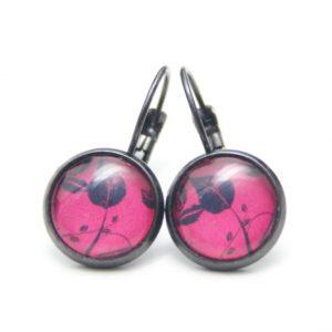 Druckknopf / Ohrstecker / Ohrhänger mit schwarzeb Blättern auf rot