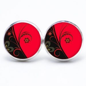 Druckknopf / Ohrstecker / Ohrhänger rot schwarze Blumen
