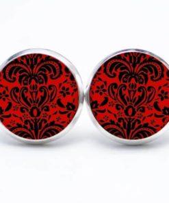 Druckknopf / Ohrstecker / Ohrhänger rot schwarzes Mandala