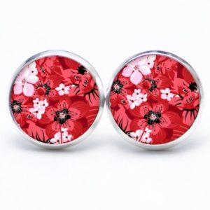 Druckknopf / Ohrstecker / Ohrhänger rosarotes Blumen Meer