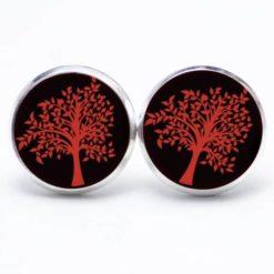 Druckknopf Ohrstecker Ohrhänger rot schwarzer Baum