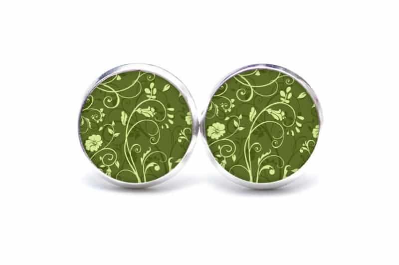 Druckknopf / Ohrstecker / Ohrhänger floral grün