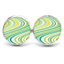 Druckknopf Ohrstecker Ohrhänger grüne Wellen