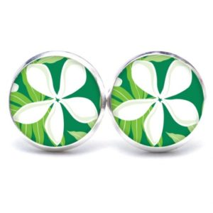 Druckknopf / Ohrstecker / Ohrhänger große weiße Blume auf grün