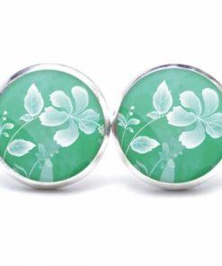 Druckknopf / Ohrstecker / Ohrhänger zarte weiße Blume auf grün