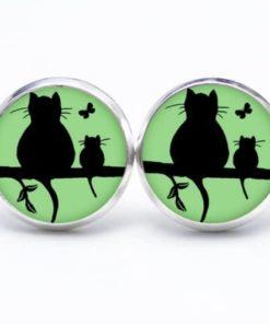Druckknopf / Ohrstecker / Ohrhänger Katze und Babykatze mit Schmetterling in Grün