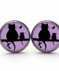 Druckknopf / Ohrstecker / Ohrhänger Katze und Babykatze mit Schmetterling in Lila