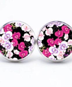 Druckknopf / Ohrstecker / Ohrhänger rosa Orchideen