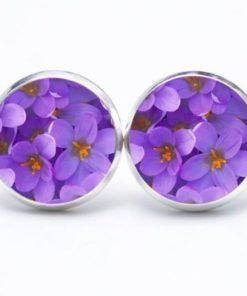 Druckknopf / Ohrstecker / Ohrhänger violette Blumen