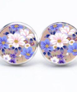 Druckknopf / Ohrstecker / Ohrhänger mit weiß blauen Blumen
