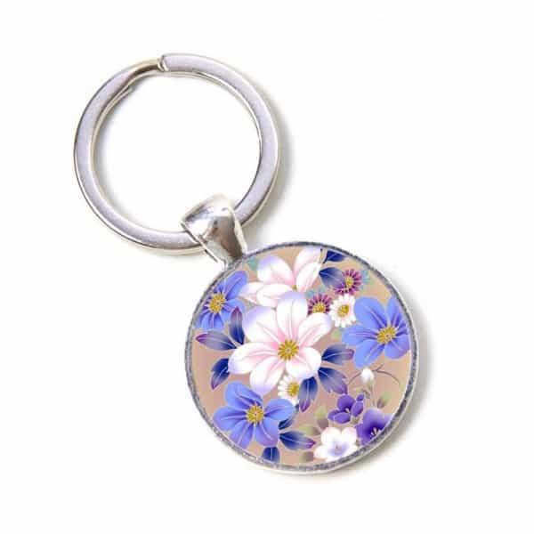 Schlüsselanhänger weiß blaue Blumen