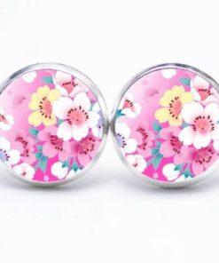 Druckknopf / Ohrstecker / Ohrhänger mit rosa Blumen