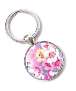 Schlüsselanhänger rosa Blumen