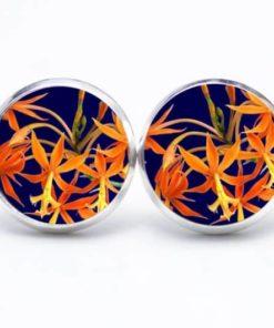 Druckknopf / Ohrstecker / Ohrhänger orange gelbe Blumen