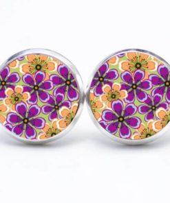 Druckknopf / Ohrstecker / Ohrhänger orange violette Blumen