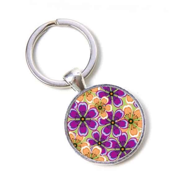 Schlüsselanhänger violette orange Blumen