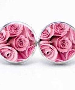 Druckknopf / Ohrstecker / Ohrhänger rosa Rosen