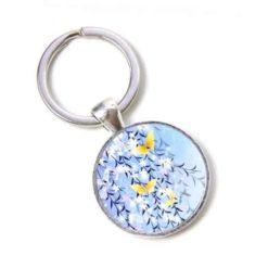 Schlüsselanhänger blaue Blumen mit Zitronenfalter